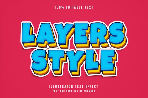 Layers style editable text effect with blue gradation