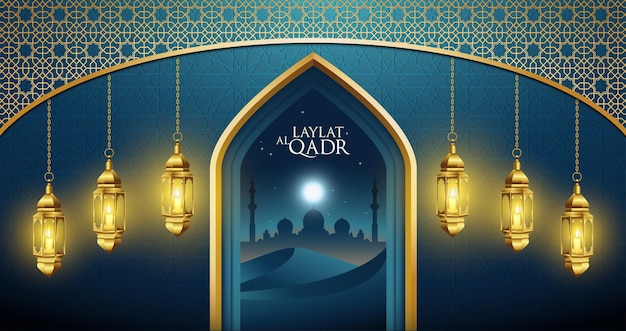 Laylat al qadr on the desert at night and bright moon light
