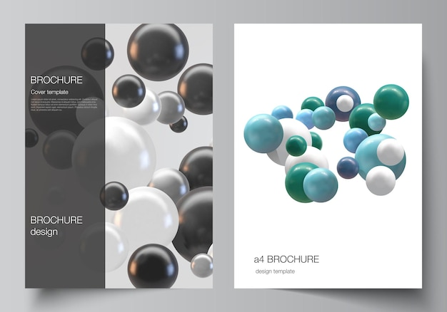 Layout of a4 cover templates. abstract 3d spheres, glossy bubbles, balls.