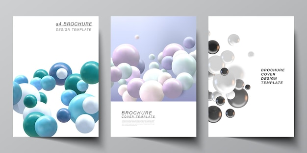 Layout of a4 cover templates. realistic multicolored 3d spheres, bubbles, balls.