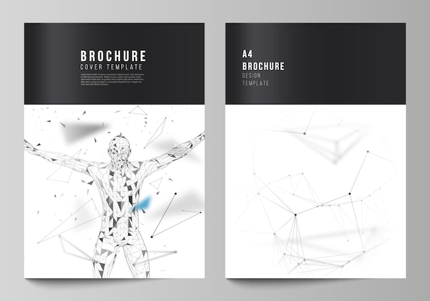 The layout of a4 format cover mockups design templates for brochure, flyer, report. technology, science, medical concept
