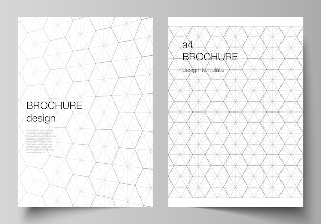 Layout of a4 format cover mockups design templates for brochure Premium Vector