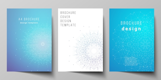 Layout of a4 format modern cover  design templates. big data visualization