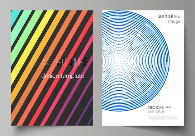 Layout of a4 format modern cover mockups templates for brochure