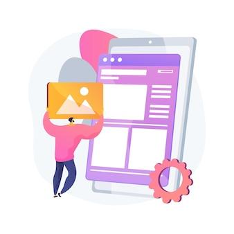 レイアウトの抽象的な概念図。ウェブサイト開発、ユーザーインターフェース、フロントエンド、グラフィックデザインチーム、ランディングページ、レスポンシブデザイン、マーキングツール、一貫性