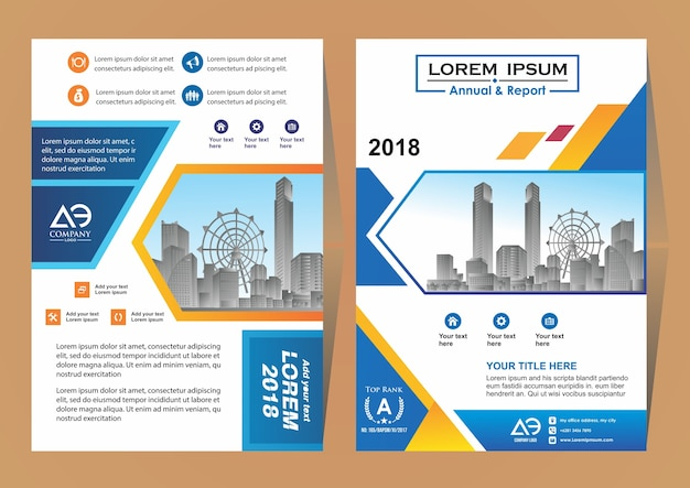 Layout for annual report with city background