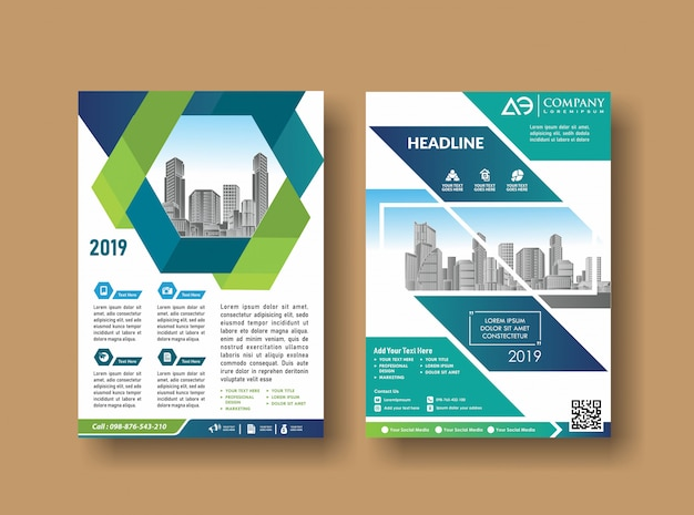 Layout cover design annual report flyer