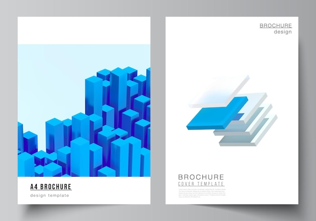 Layout of a cover  templates.  composition with dynamic realistic geometric blue shapes in motion
