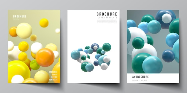 Layout of a cover  templates with colorful 3d spheres glossy bubbles balls