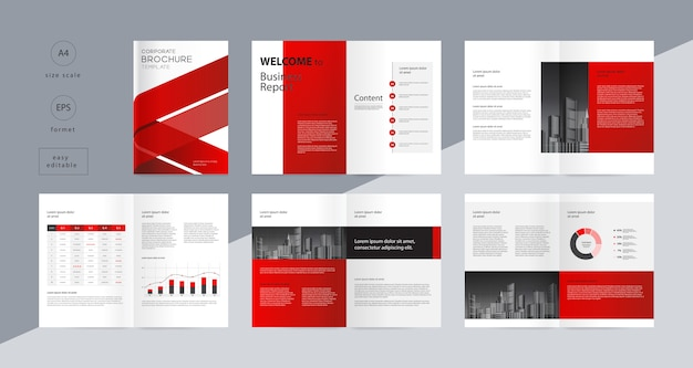 Layout design with cover page for company profile annual report and brochures template
