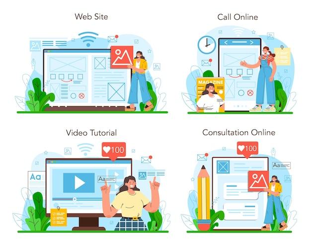 레이아웃 디자이너 온라인 서비스 또는 플랫폼 집합입니다. 잡지 또는 신문 레이아웃 개발. 모바일 앱 및 웹사이트 디자인. 온라인 상담, 전화, 비디오 튜토리얼, 웹사이트. 평면 벡터 일러스트 레이 션