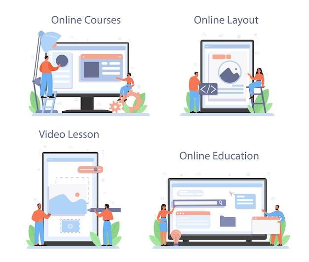 Layout designer online service or platform set.
