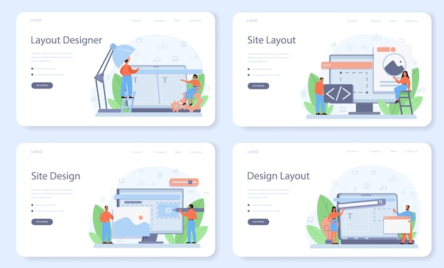 Layout designer web template or landing page set.