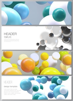 Layout of headers banner templates with multicolored 3d spheres bubbles balls
