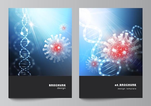 안내 책자, 전단지 레이아웃, 소책자, 표지 디자인, 책 디자인을위한 a4 표지 모형 템플릿의 레이아웃입니다. 코로나 바이러스의 3d 의료 배경입니다. 코 비드 19, 코로나 바이러스 감염. 바이러스 개념.