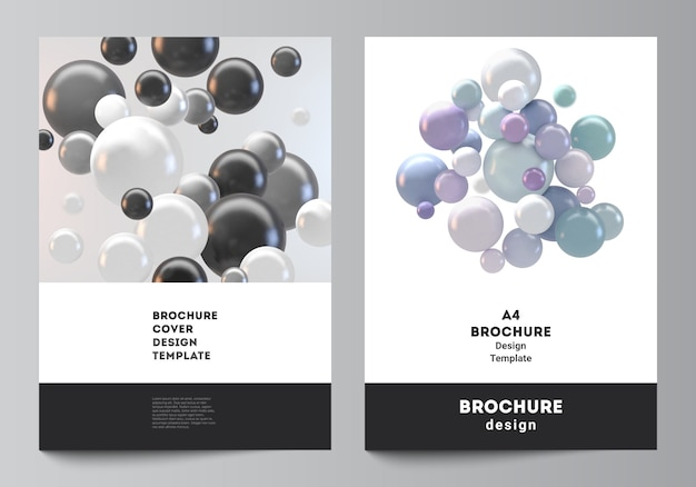 안내 책자, 전단지 레이아웃, 소책자, 표지 디자인, 책 디자인을위한 a4 표지 모형 템플릿의 레이아웃입니다. 화려한 3d 분야, 광택 거품, 공 추상 미래 배경.