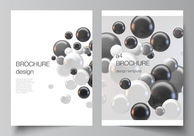 パンフレット、チラシのレイアウト、小冊子、カバーデザイン、ブックデザインのa4カバーモックアップテンプレートのレイアウト。カラフルな3 d球、光沢のある泡、ボールと抽象的な未来的な背景。