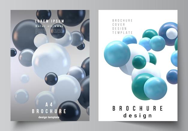 Макет шаблонов макетов обложки а4 для брошюры, макет флаера, буклет, дизайн обложки, дизайн книги, обложка брошюры. реалистичная фон с разноцветными 3d-сферы, пузыри, шарики.