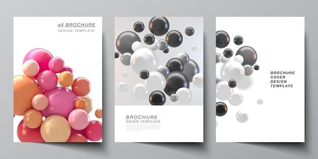 パンフレット、チラシのレイアウト、小冊子、表紙のデザイン、本のデザインのa4カバーのテンプレートのレイアウト。カラフルな3d球、光沢のある泡、ボールと抽象的な未来的な背景。