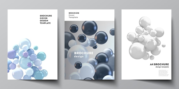 Верстка шаблонов обложек а4 для брошюры, макет флаера, буклета, дизайн обложки, дизайн книги, обложка брошюры. реалистичный фон с разноцветными 3d сферами, пузырями, шарами.
