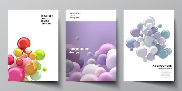 Верстка шаблонов обложек а4 для брошюры, макет флаера, буклета, дизайн обложки, дизайн книги. абстрактный футуристический фон с красочными 3d сферами, глянцевыми пузырями, шарами.