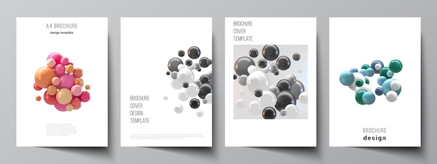 パンフレット、チラシのレイアウト、小冊子、表紙のデザイン、本のデザインのa4カバーテンプレートのレイアウト。カラフルな3d球、光沢のある泡、ボールと抽象的な未来的な背景。