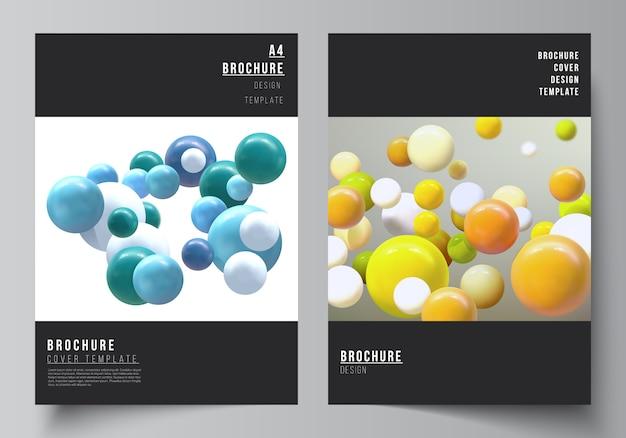 Макет шаблонов обложки а4 для брошюры, макет флаера, буклет, дизайн обложки, дизайн книги, обложка брошюры. реалистичная фон с разноцветными 3d-сферы, пузыри, шары.