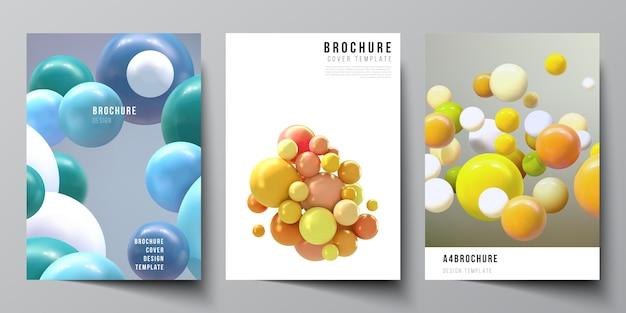 パンフレット、チラシのレイアウト、小冊子、カバーデザイン、ブックデザイン、パンフレットの表紙のa4カバーテンプレートのレイアウト。色とりどりの3 d球、泡、ボールと現実的な背景。