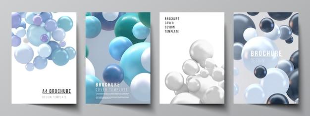 パンフレット、チラシのレイアウト、小冊子、表紙のデザイン、本のデザイン、パンフレットの表紙のa4カバーテンプレートのレイアウト。色とりどりの3d球、泡、ボールでリアルな背景。
