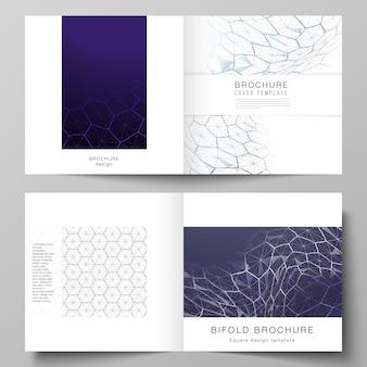 正方形のデザインの二つ折りパンフレットまたはチラシのカバーテンプレートのレイアウト