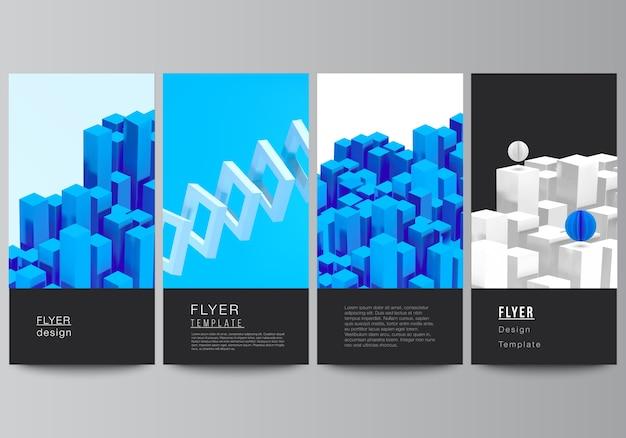 전단지 레이아웃, 웹 사이트 광고 디자인, 수직 전단지 디자인, 웹 사이트 장식 배경 배너 디자인 템플릿. 3d 렌더링 구성 동적 기하학적 파란색 모양입니다.