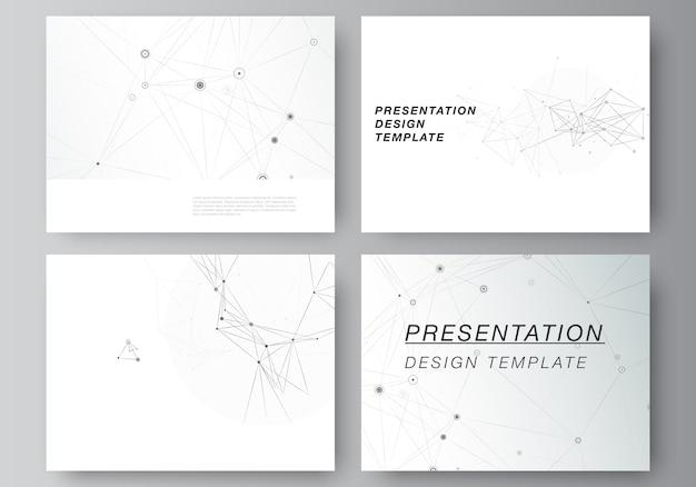 프레젠테이션 슬라이드 디자인의 레이아웃. 선과 점을 연결하는 회색 기술. 네트워크 개념.