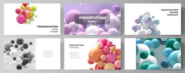 Верстка дизайна слайдов презентации, универсальный шаблон. абстрактные футуристические 3d сферы, глянцевые пузыри, шары.