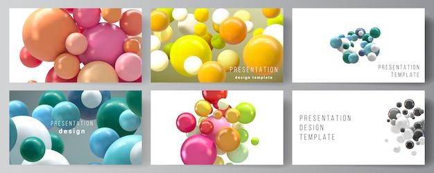 プレゼンテーションスライドのレイアウトデザインテンプレート、プレゼンテーションパンフレットの多目的テンプレート、ビジネスレポート。カラフルな3 d球、光沢のある泡、ボールと抽象的な未来的な背景。