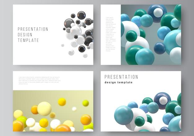 プレゼンテーションスライドのレイアウトデザインテンプレート、プレゼンテーションパンフレットの多目的テンプレート、ビジネスレポート。泡、ボール。