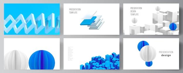Верстка шаблонов оформления слайдов презентации, шаблон презентации брошюры, обложка брошюры, бизнес-отчет. 3d визуализация композиции с динамическими геометрическими синими формами в движении.