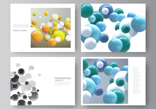 プレゼンテーションスライドのレイアウトデザインビジネステンプレート、プレゼンテーションパンフレットの多目的テンプレート、レポート。色とりどりの3 d球、泡、ボールと現実的な背景。