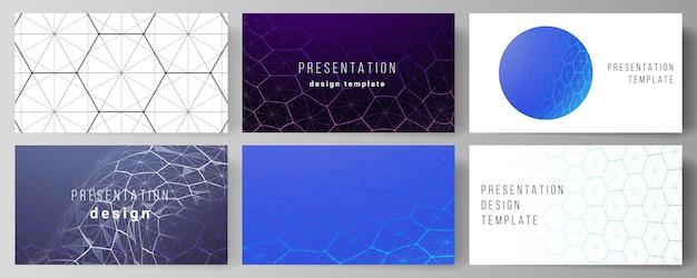 프레젠테이션 슬라이드 디자인 템플릿의 레이아웃. 육각형, 점과 선을 연결하는 디지털 기술.