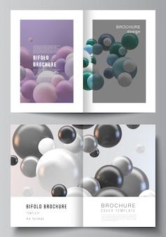 2つ折りパンフレット、チラシ、雑誌、カバーデザイン、ブックデザインの2つのa4カバーモックアップテンプレートのレイアウト。カラフルな3 d球、光沢のある泡、ボールと抽象的な未来的な背景。