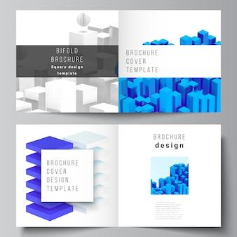正方形の2つ折りパンフレット、チラシ、雑誌、カバーデザイン、ブックデザイン、パンフレットの表紙の2つのカバーテンプレートのレイアウト。動きのあるリアルな幾何学的な青い形状の3 dレンダリング構成