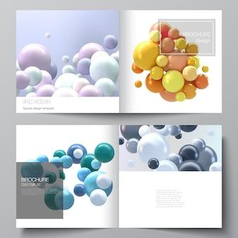 正方形の2つ折りパンフレット、チラシ、雑誌、カバーデザイン、ブックデザイン、パンフレットカバーの2つのカバーテンプレートのレイアウト。色とりどりの3 d球、泡、ボールと現実的な背景。