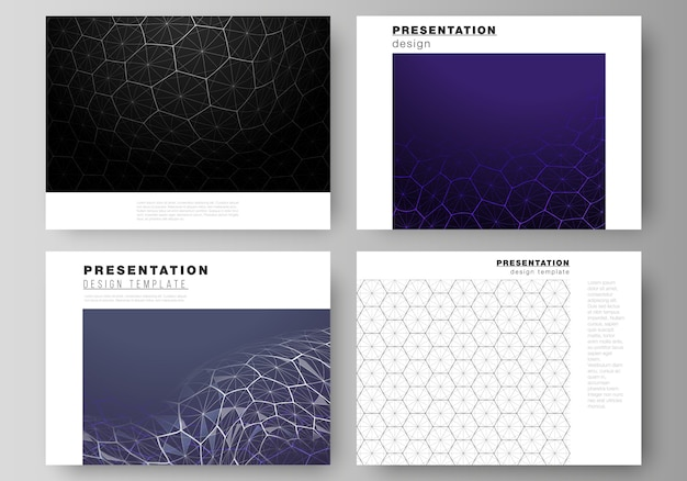 Layout of the presentation slides design business templates. digital technology and big data concept with hexagons, connecting dots and lines, polygonal science medical background.