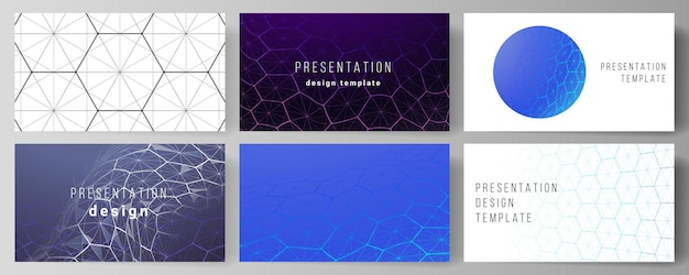 Layout of the presentation slides design templates. digital technology with hexagons, connecting dots and lines.