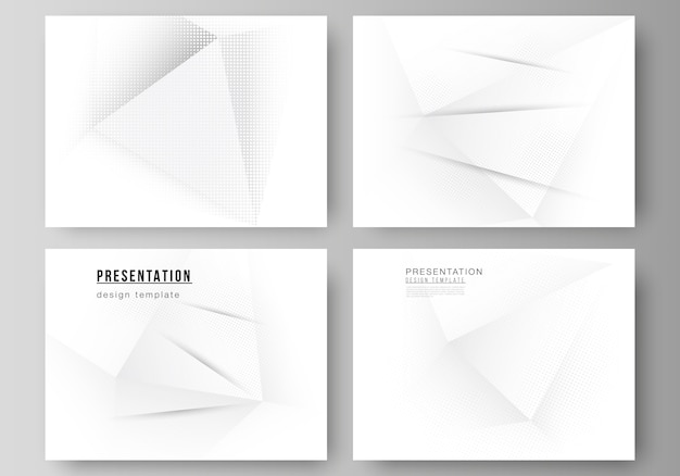 Layout of the presentation slides design templates, multipurpose template for presentation brochure, brochure cover. halftone dotted background with gray dots, abstract gradient background