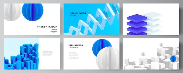 Layout of presentation slides design templates, template for presentation brochure, brochure cover, business report. 3d render composition with dynamic geometric blue shapes in motion.