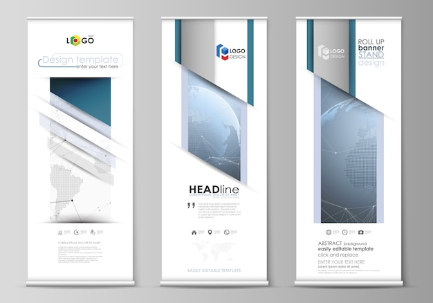 Layout of roll up banner stands, vertical flyers