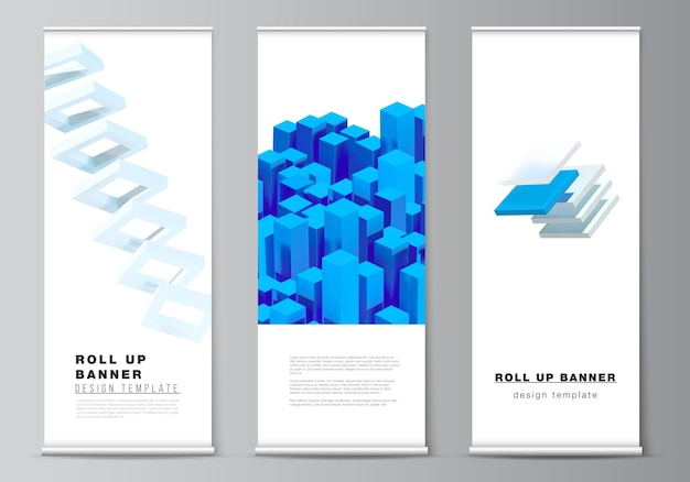 Layout of roll up  design templates for vertical flyers, flags design templates, banner stands, advertising. 3d render composition with dynamic realistic geometric blue shapes.