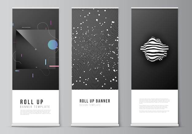 Layout of roll up   design templates for vertical flyers, flags design templates, banner stands, advertising design  s. tech science future background, space design astronomy concept.