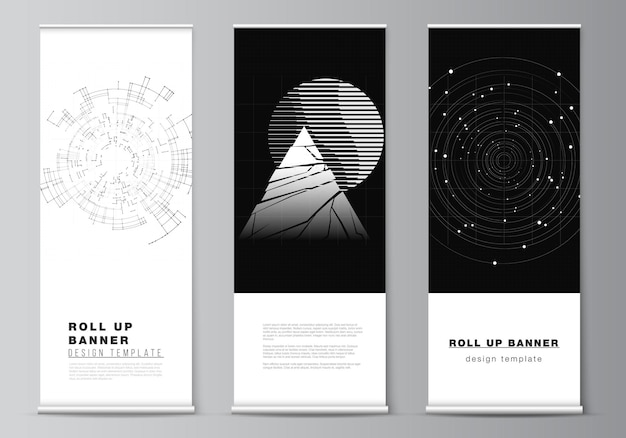 Layout of roll up design templates for vertical flyers