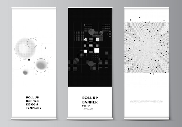 Layout of roll up mockup templates for vertical flyers flags design templates